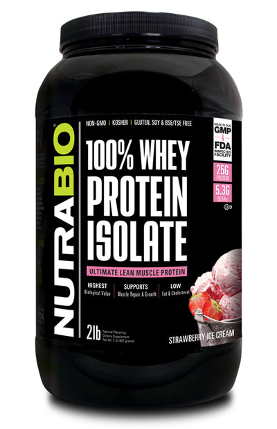 Nutrabio 100% Whey Protein Isolate 2lb Strawberry Ice Cream