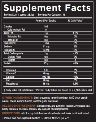 Core ISO Chocolate Decadence Nutrition Facts