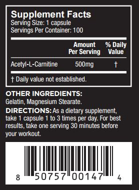 Core Nutritionals Acetyl L-Carnitine Nutrition Facts