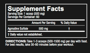 Core Nutritionals Agmatine Sulfate Nutrition Facts
