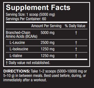 Core Nutritionals BCAA Nutrition Facts