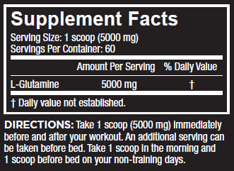 Core Nutritionals Glutamine Nutrition Facts