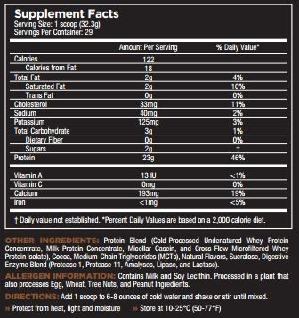 Core Pro Chocolate Delight Nutrition Facts