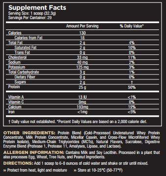 Core Pro Vanilla Nutrition Facts