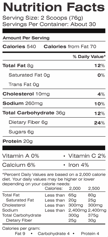 EPIC Gains Nutrition Facts