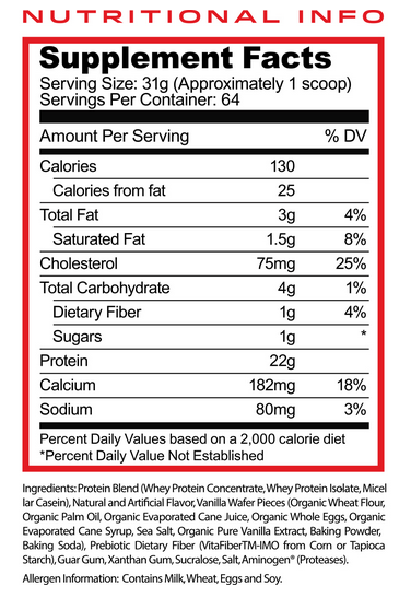 Myofeed Protein Nutrition Facts by Purus Labs