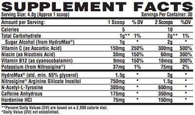 Nutrex Outrage Nutrition Facts