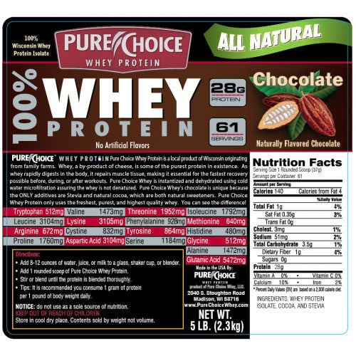 Pure Choice Whey Protein Chocolate 5 Lbs
