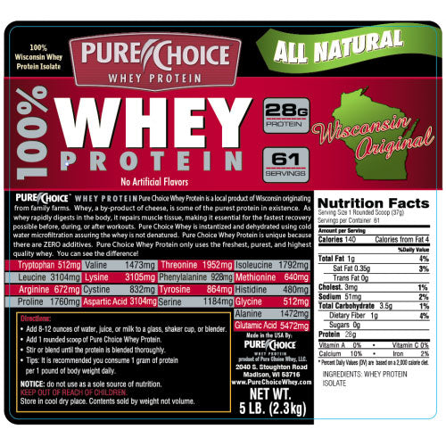 Pure Choice Whey Protein Original 5 Lbs