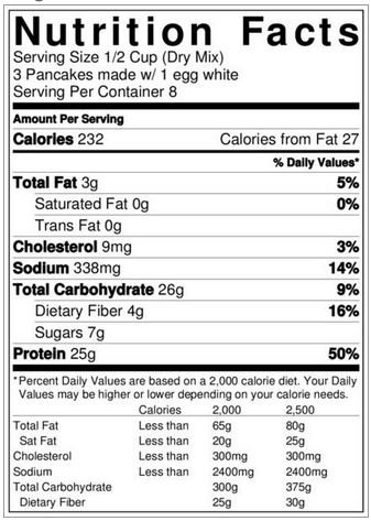 stack'd protein pancakes nutrition facts