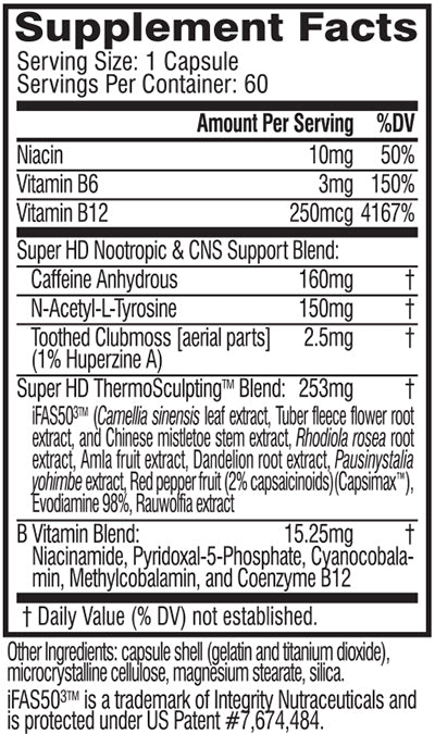 super hd nutrition facts