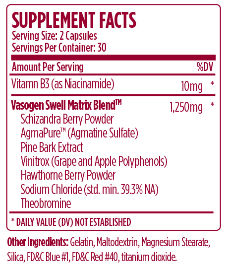 VMI Sports Vasogen XT (60 Caps) Nutrition Facts