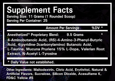 Anesthetized Nutrition Facts