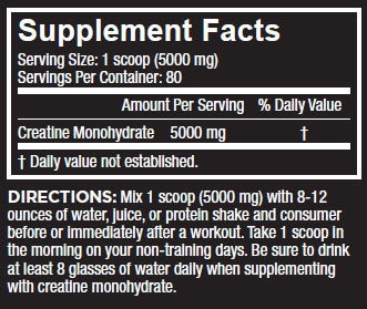 Core Nutritionals Creatine Monohydrate Nutrition Facts