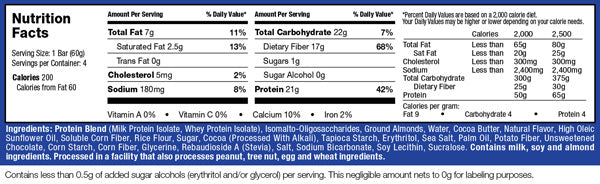 Muscletech Mission 1 Protein Bars supplement facts