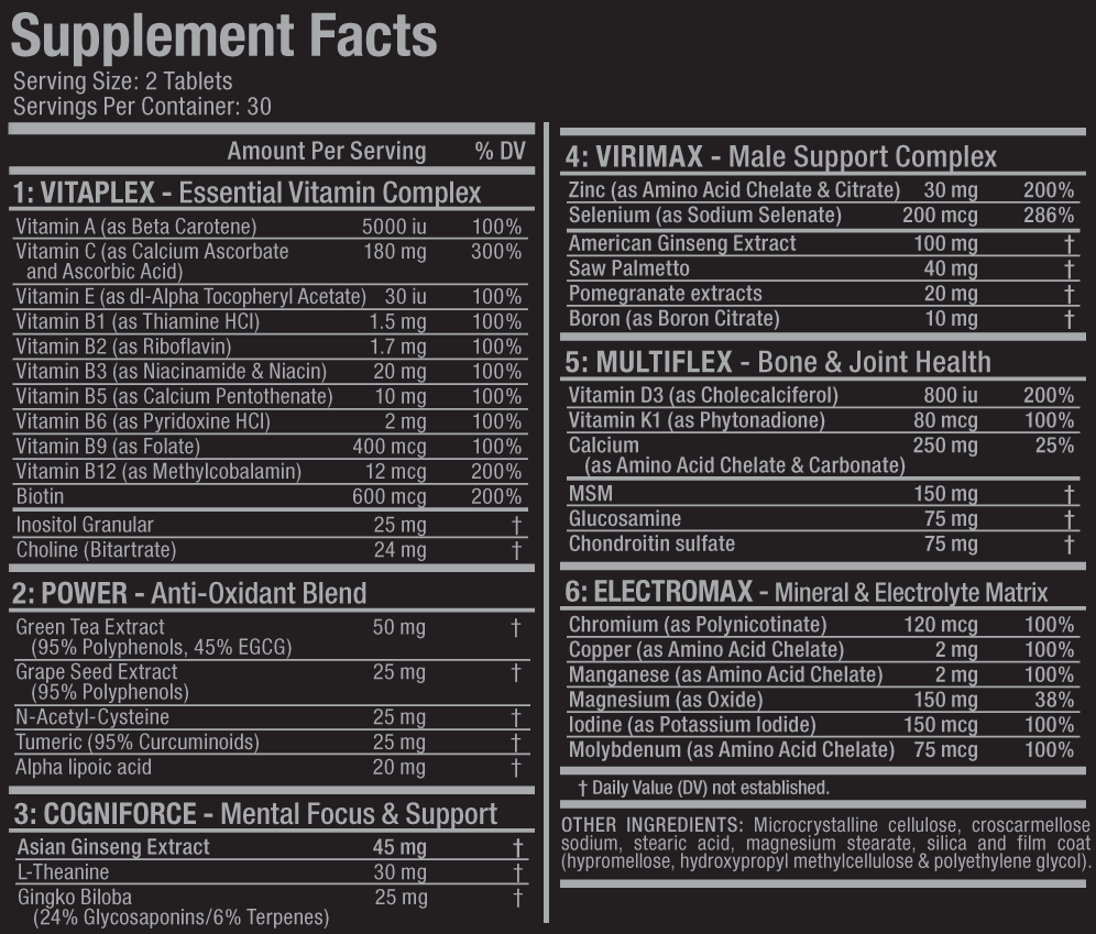 vitaform supplement facts