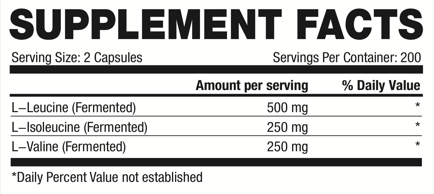 bcaa caps supplement facts