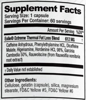 exile super shock supplement facts