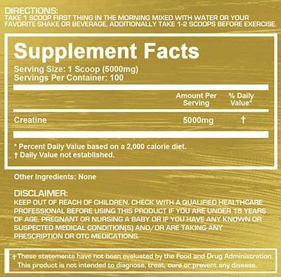 platinum labs creatine supplement facts