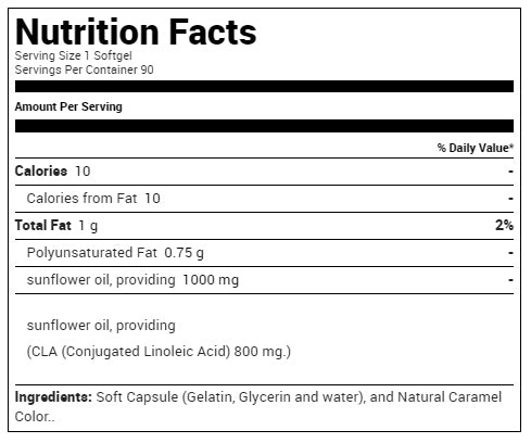 USN CLA Pure 100 Supplement Facts