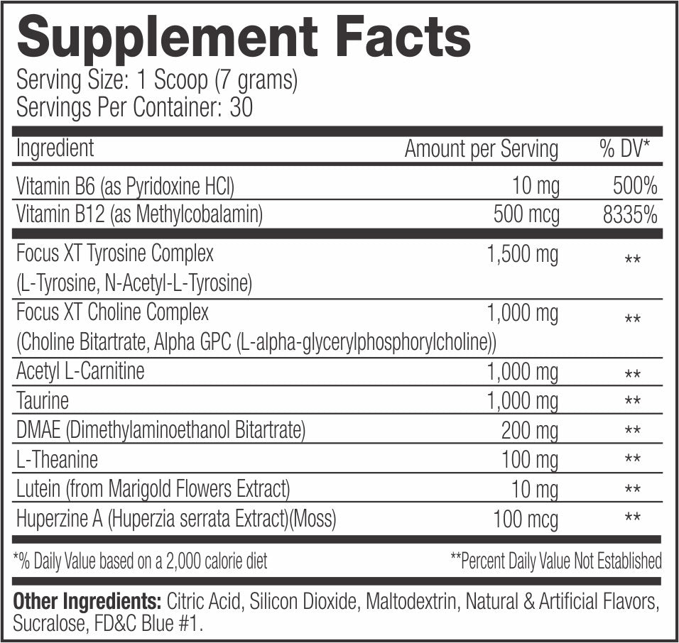 focus xt caffeine free suppfacts