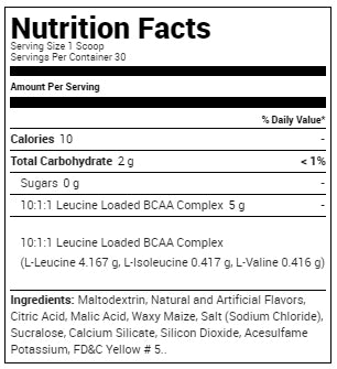 MHP BCAA-XL supplement facts
