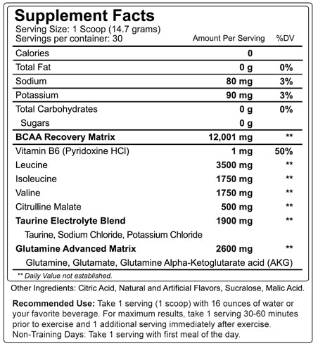 Nutrakey BCAA Optima Supplement Facts