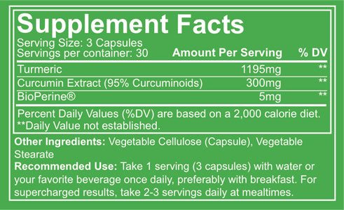 Nutrakey Turmeric Curcumin Complex Supplement Facts