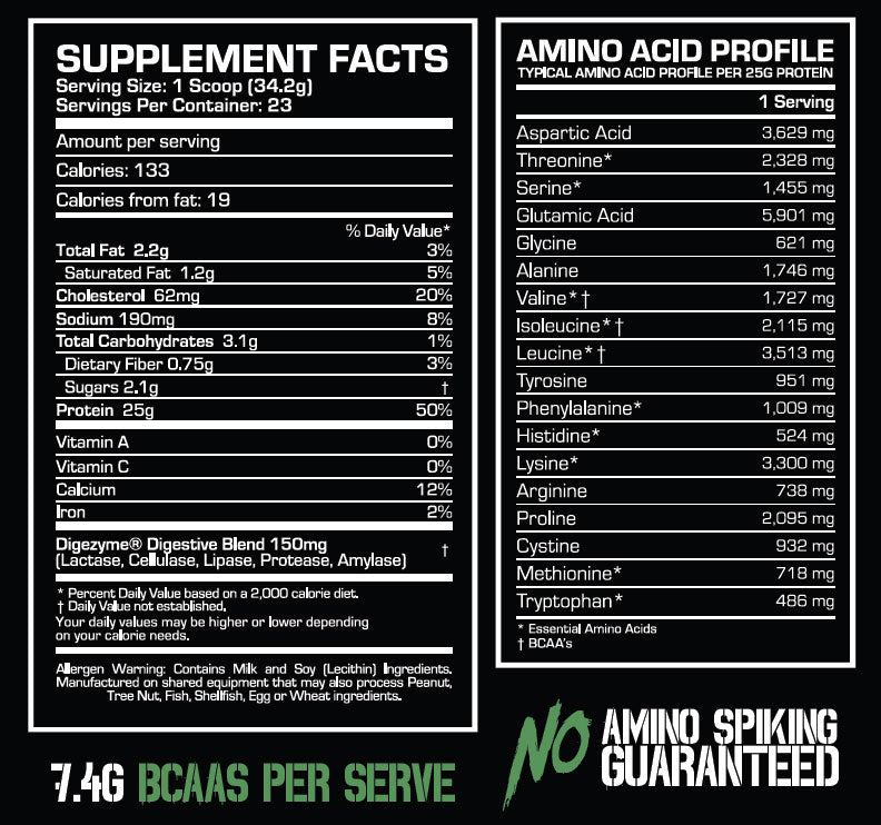 survive whey nutrition facts