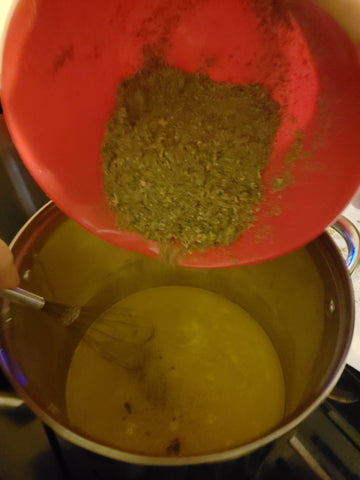 Pour Grinded Cannabis into Melted Butter and water