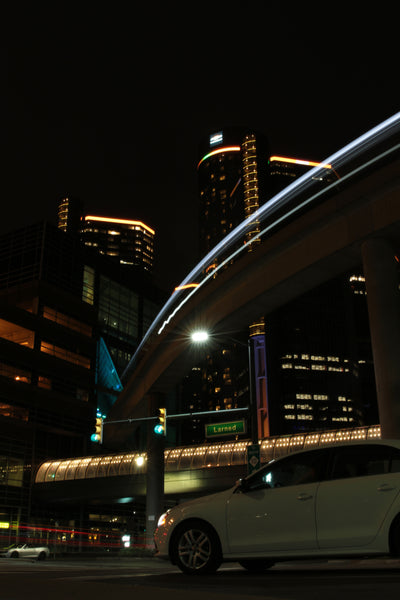 Detroit People Mover At Night