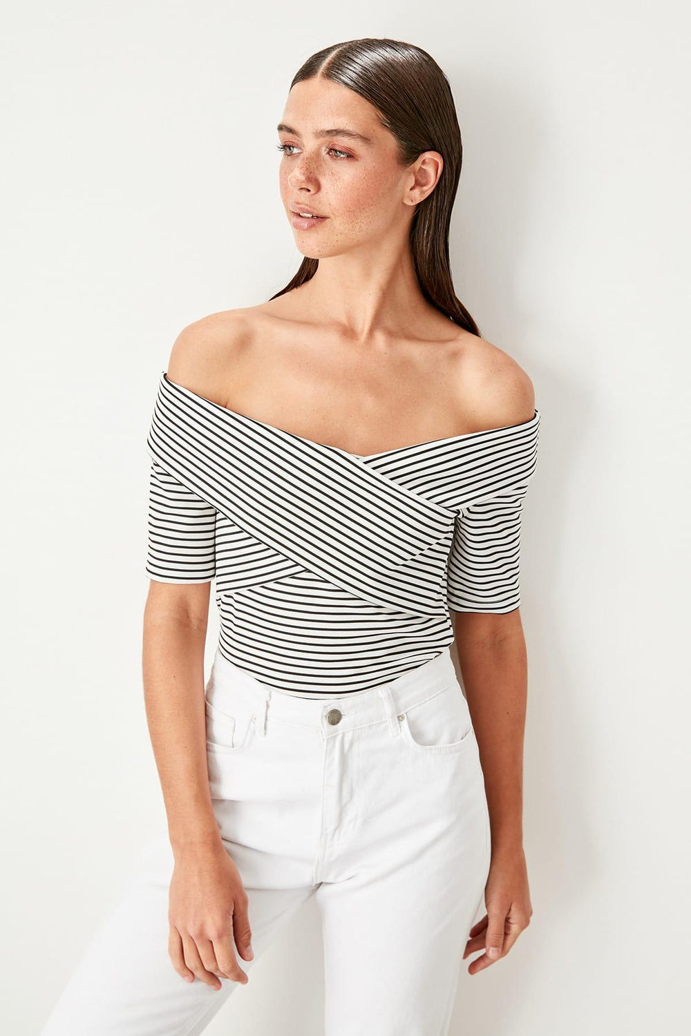 Miss Zut Miss Zut White Striped Knitted Blouse Miss Zut &CO