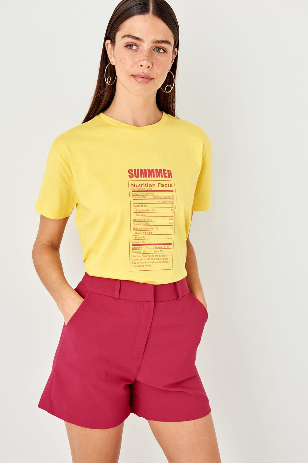 Miss Zut Miss Zut Yellow Basic Printed Knitted T-Shirt Miss Zut &CO