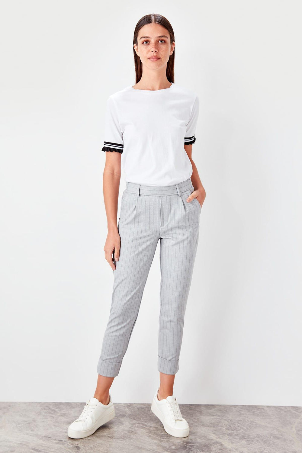 Miss Zut Miss Zut Gray Striped Pants Miss Zut &CO