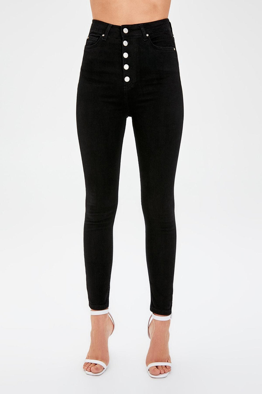 Miss Zut Miss Zut Black Front Button High Waist Skinny Jeans Miss Zut &CO