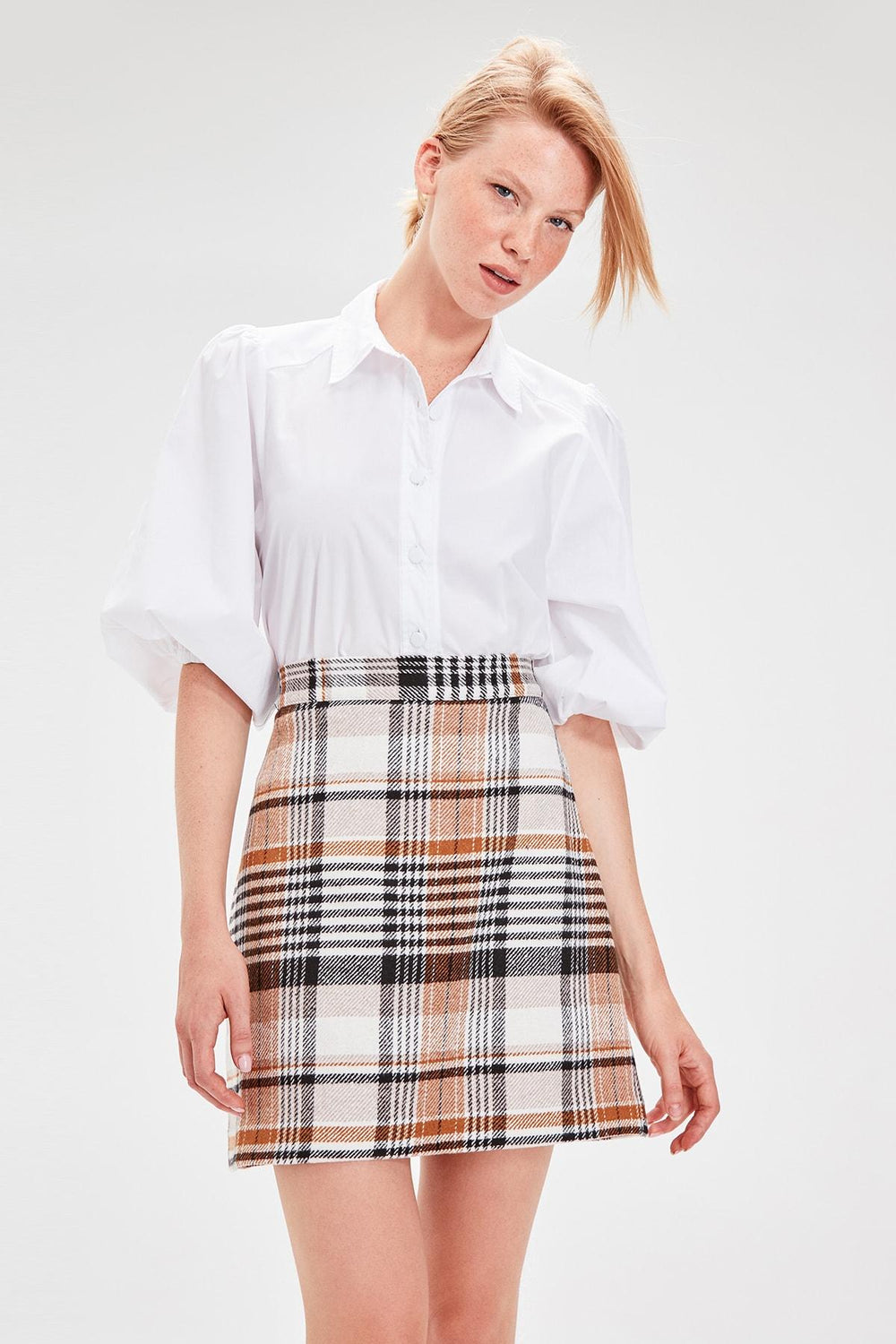 Miss Zut Miss Zut Camel Plaid Skirt Miss Zut &CO