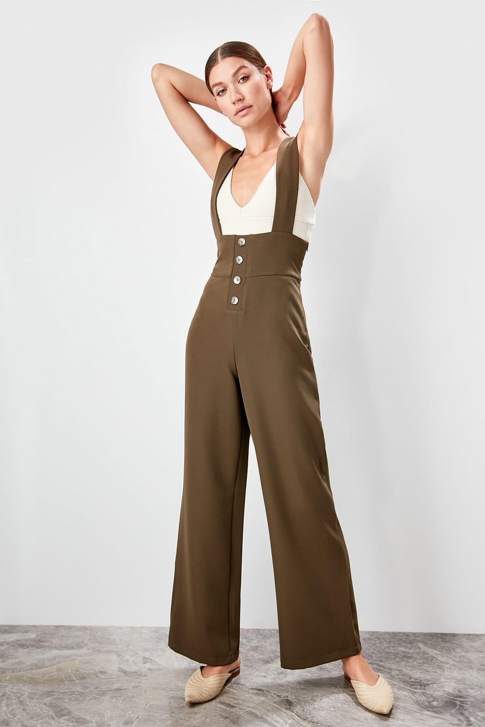 Miss Zut Miss Zut Haki Button Detail Jumpsuit Miss Zut &CO