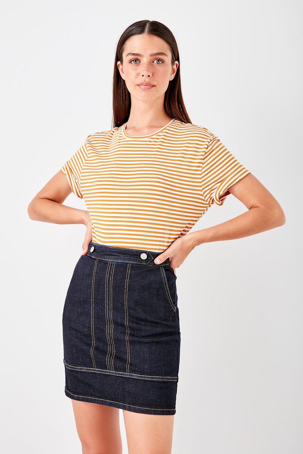 Miss Zut Miss Zut Navy Blue Studs Detailed Denim Skirt Miss Zut &CO