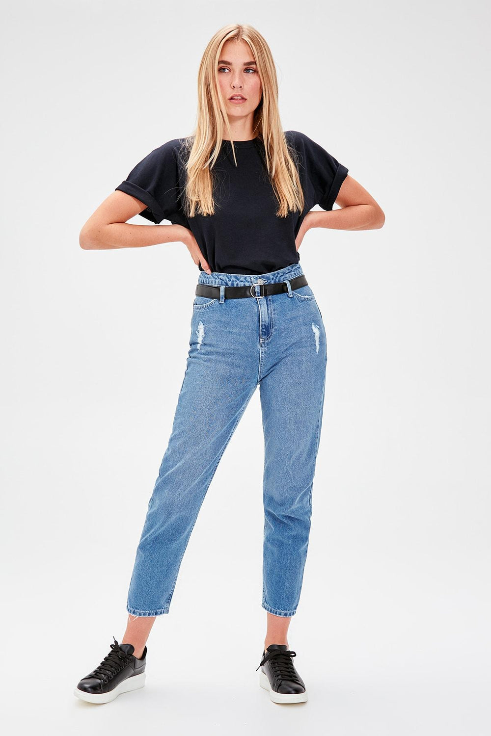 Miss Zut Miss Zut Blue Belt Detaylu0131 Super High Waist Mom Jeans Miss Zut &CO
