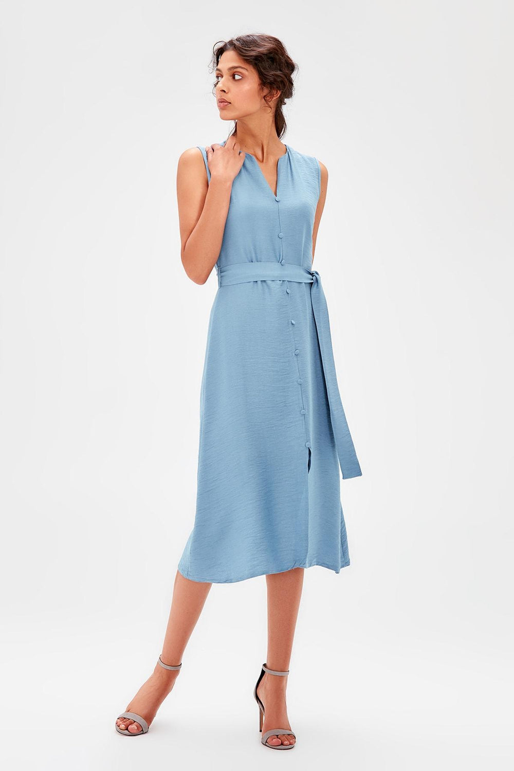 Miss Zut Miss Zut Blue covered Buttoned Dress Miss Zut &CO