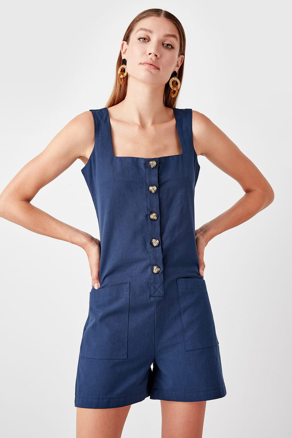 Miss Zut Miss Zut Navy Blue Button Jumpsuit Miss Zut &CO
