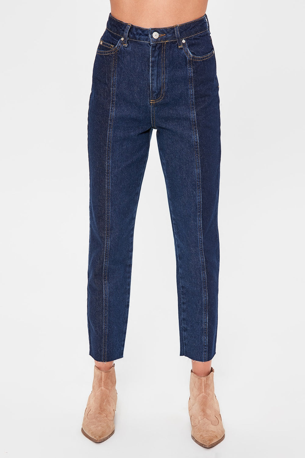 Miss Zut Miss Zut Blue Block Wash Detailed High Bel Mom Jeans Miss Zut &CO