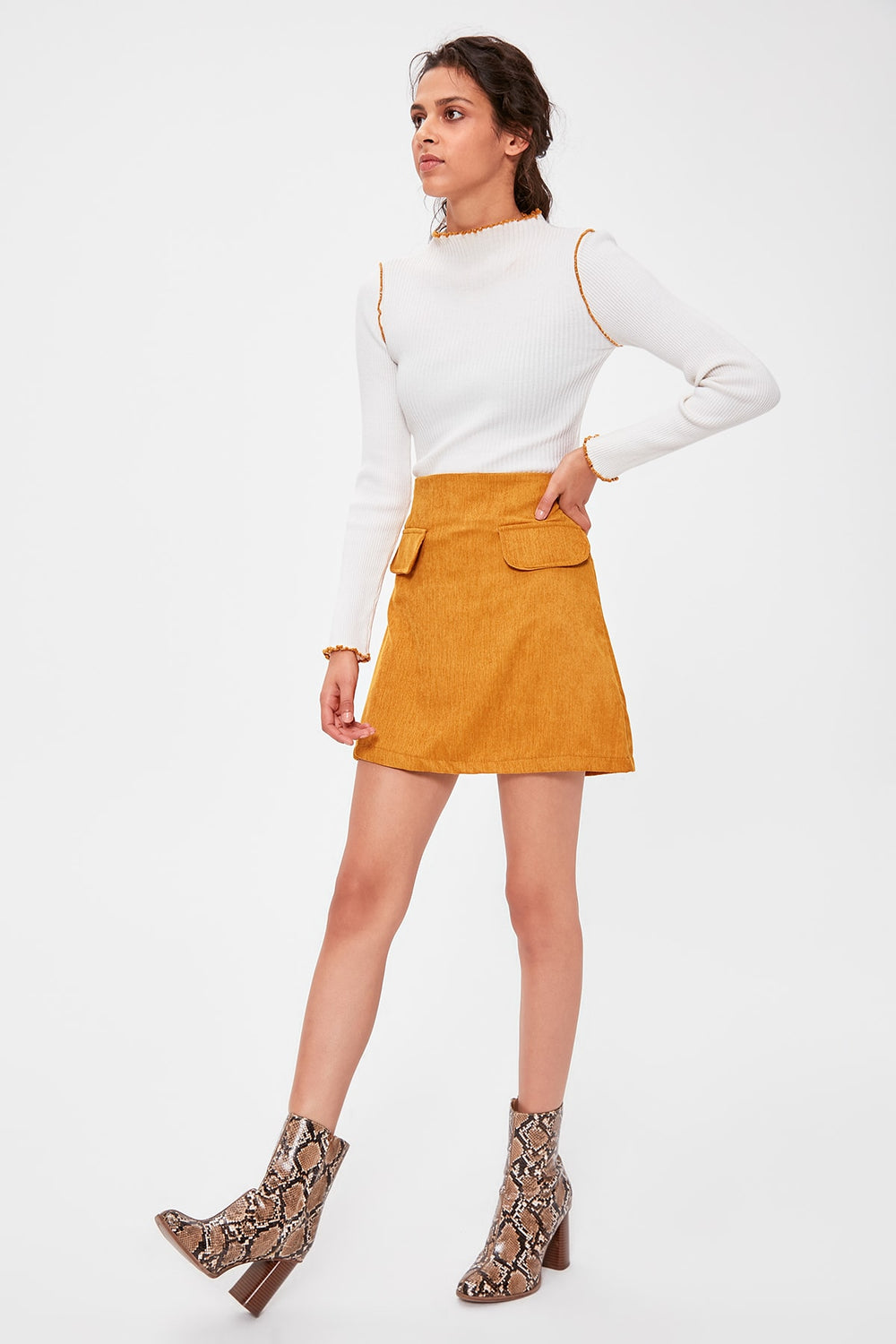 Miss Zut Miss Zut Mustard Pocket Detail Skirt Miss Zut &CO