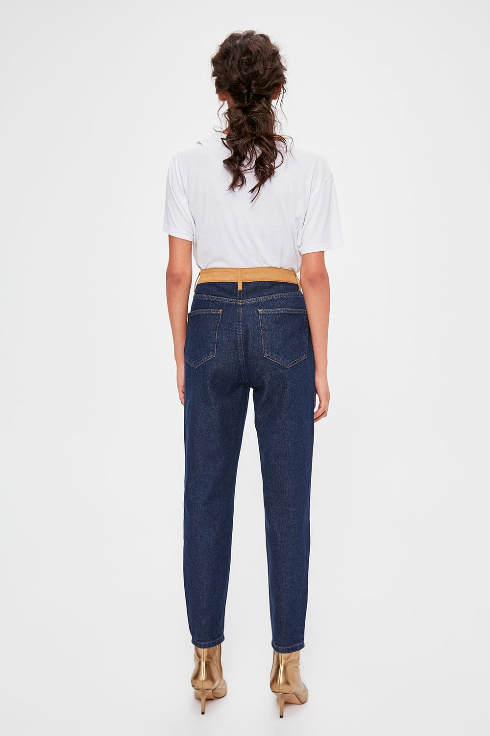 Miss Zut Miss Zut Blue Waist Detailed High Bel Mom Jeans Miss Zut &CO
