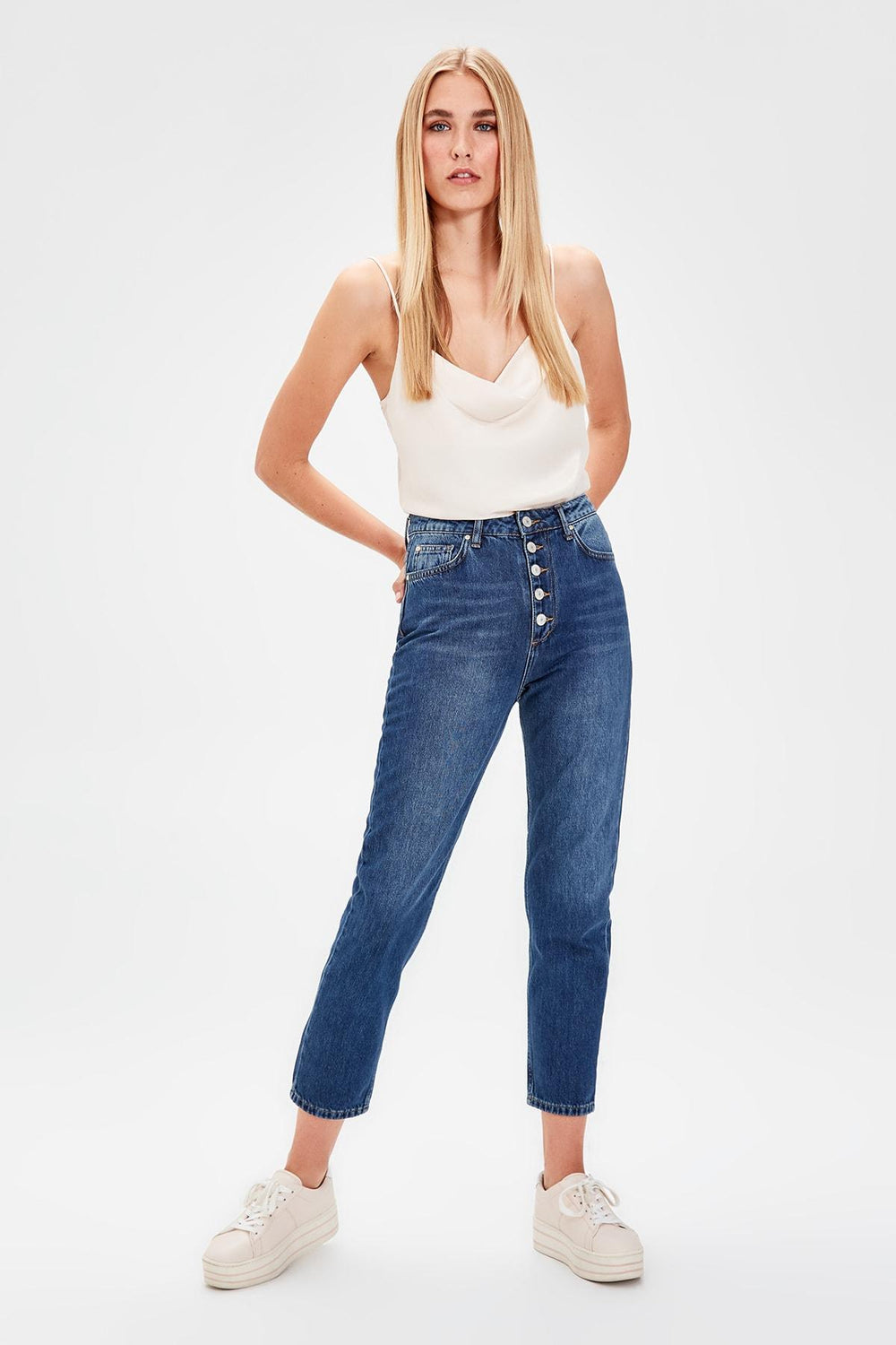 Miss Zut Miss Zut Navy Blue Front Button High Waist Mom Jeans Miss Zut &CO
