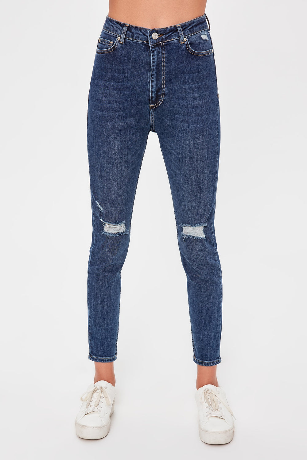 Miss Zut Miss Zut Blue Ripped Detailed High Waist Slim Fit Jeans Miss Zut &CO