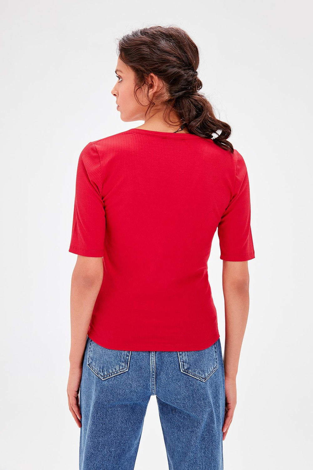 Miss Zut Miss Zut Red V-Neck Ribbed Knitted Blouse Miss Zut &CO