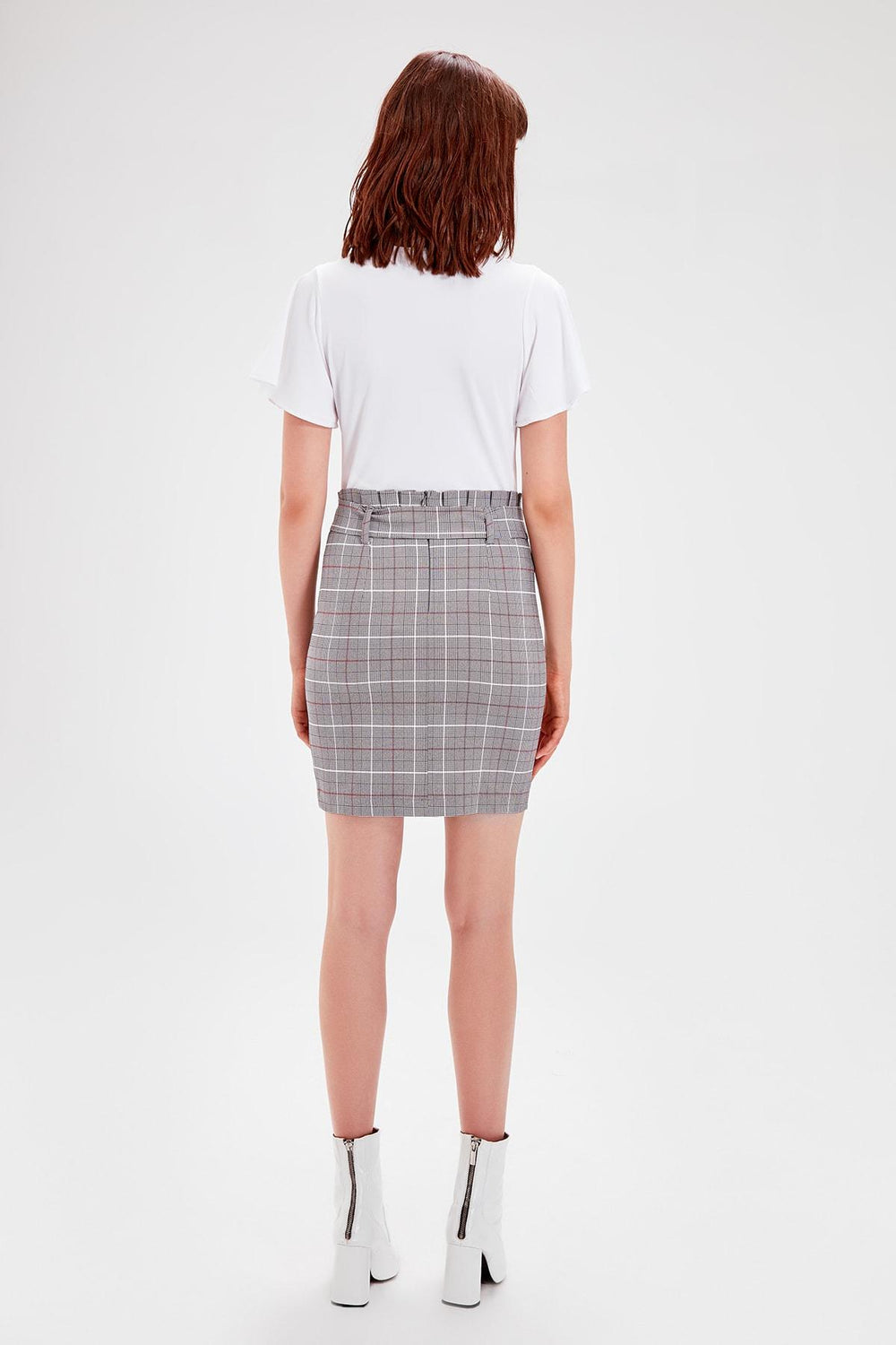 Miss Zut Miss Zut Gray Lacing Detaylu0131 Skirt Miss Zut &CO