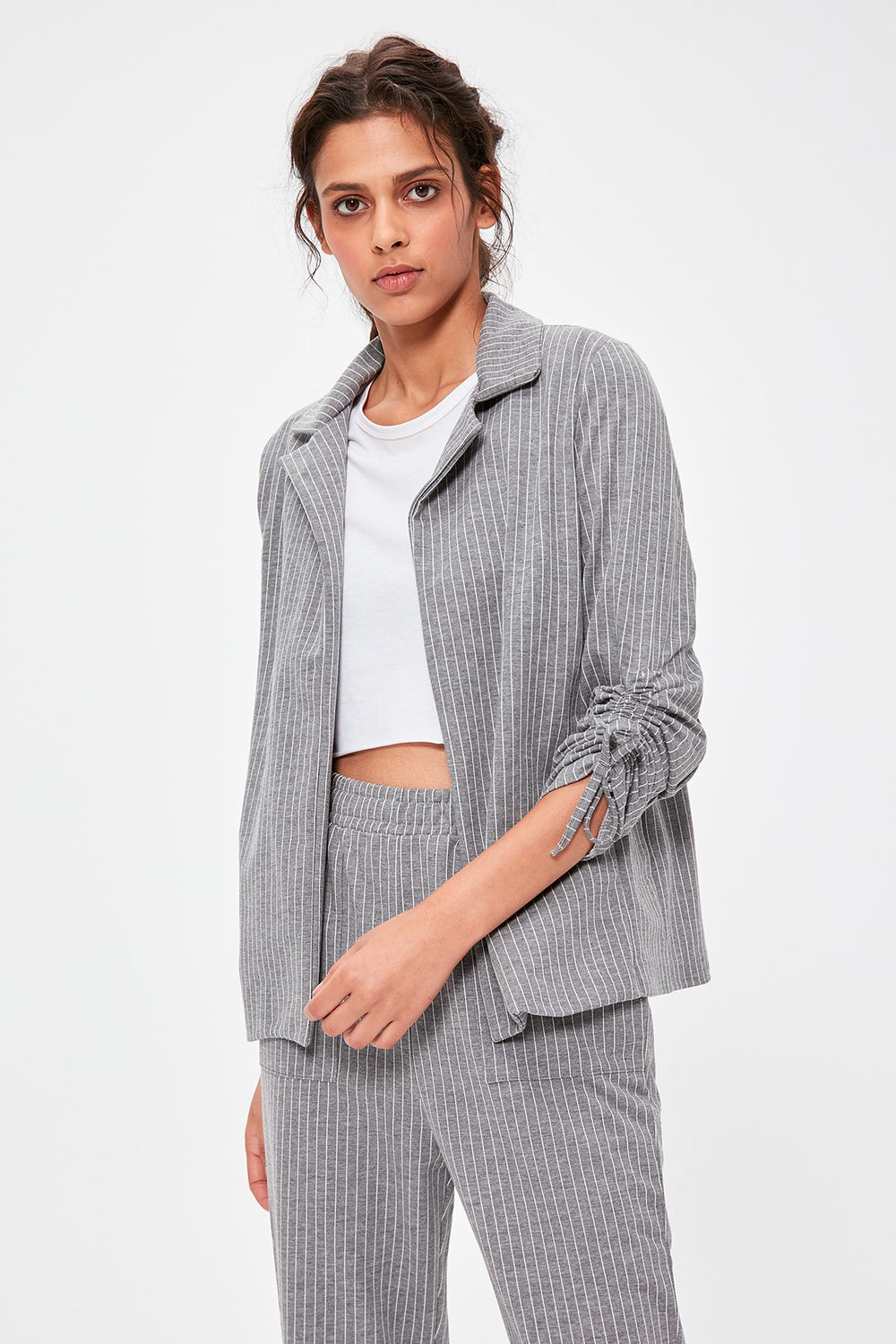 Miss Zut Miss Zut Gray Striped Knitted Jacket TWOAW20CE0095 Miss Zut &CO