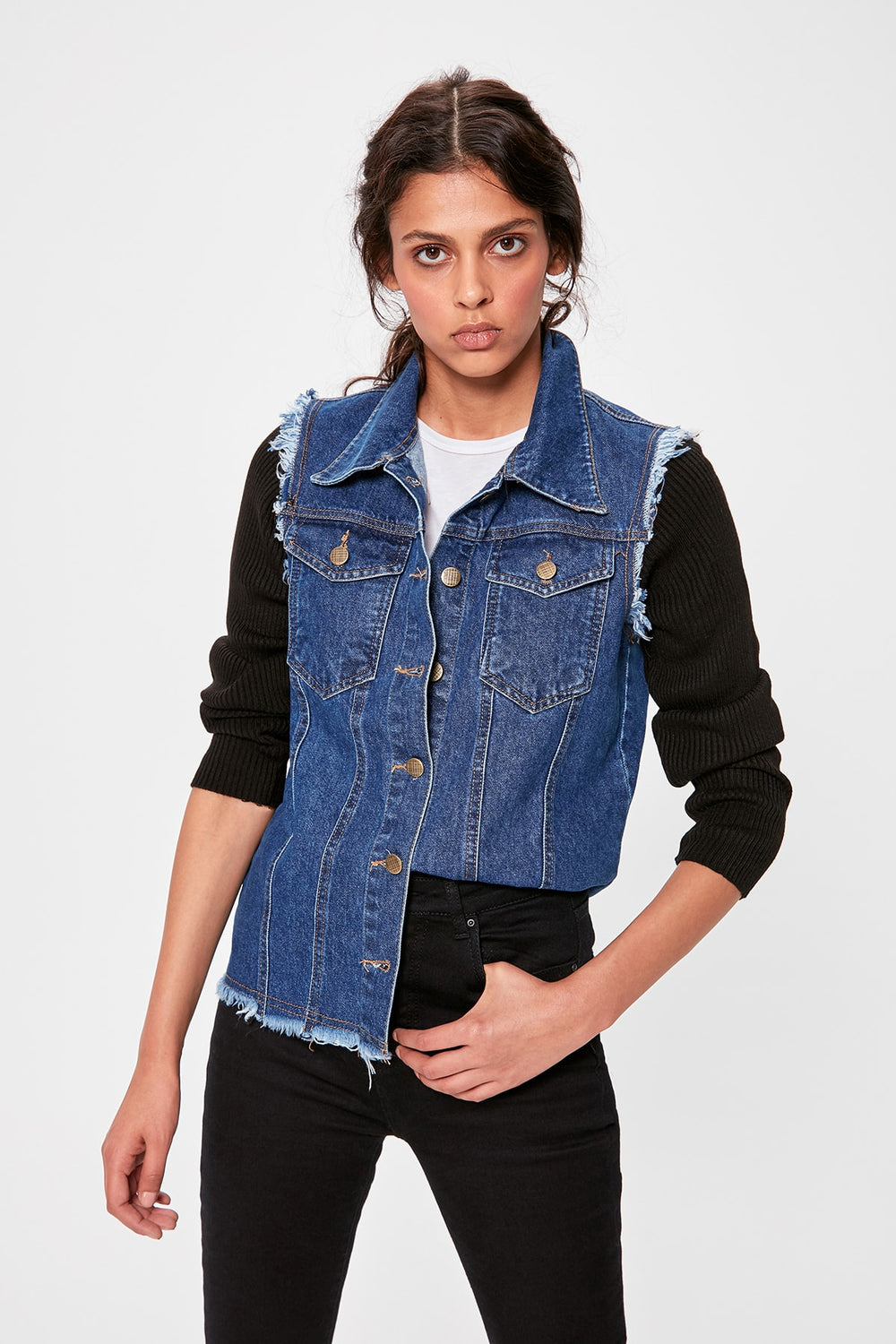 Miss Zut Miss Zut Black Handles Sweater Denim Jacket Miss Zut &CO